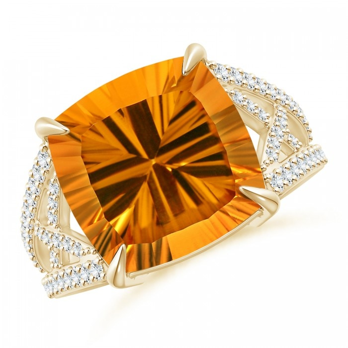 Angara Citrine Ring - GIA Certified Cushion Citrine Ring with Trio Bezel Diamonds 3M8CShvvEt