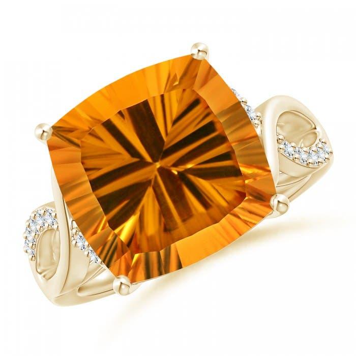 Angara GIA Certified Rectangular Cushion Citrine Ring with Diamonds UUjpAzAuWg