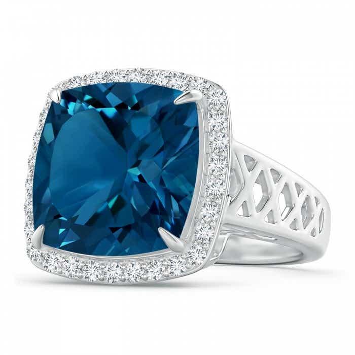 Angara Cushion London Blue Topaz Split Shank Ring with Diamond Halo EfFga