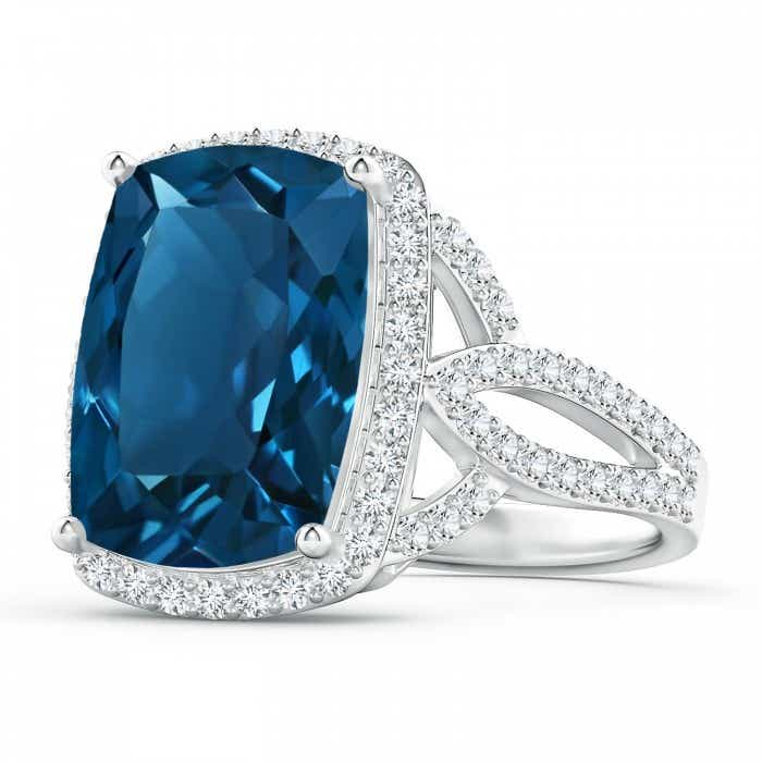 Angara Double Claw-Set London Blue Topaz Halo Ring with Diamonds