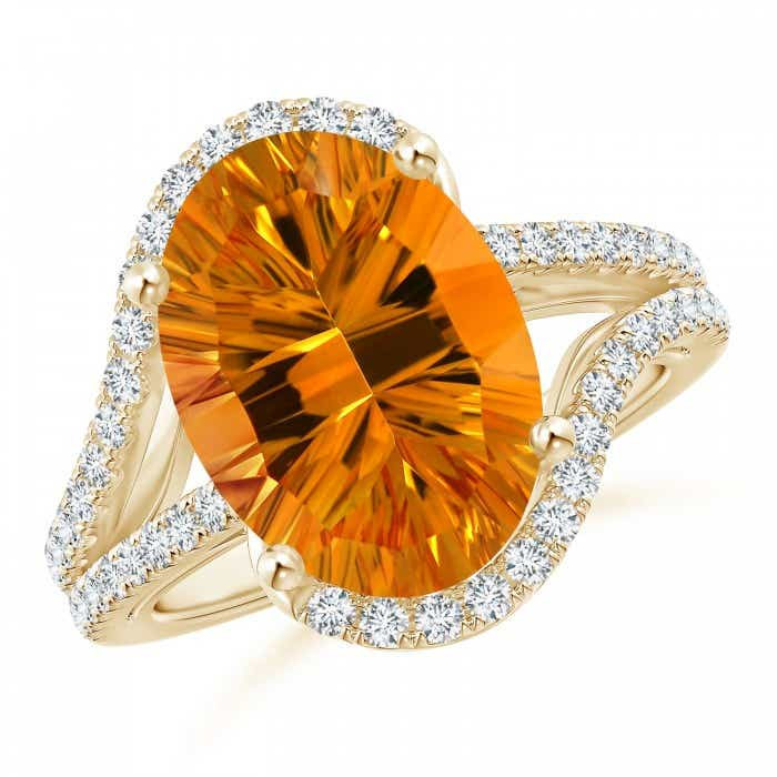 Angara Citrine Ring - GIA Certified Oval Citrine Bypass Ring with Diamonds