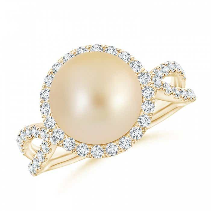 Angara Golden South Sea Cultured Pearl Ring with Pave Diamonds 0RckP