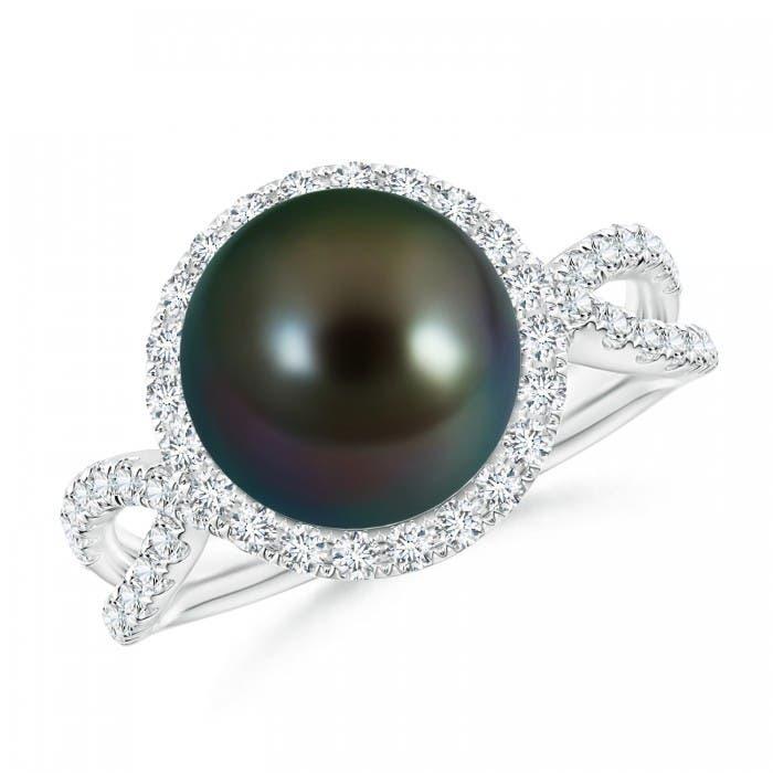 Angara Tahitian Cultured Pearl Halo Ring with Diamonds HDuSrRoO5