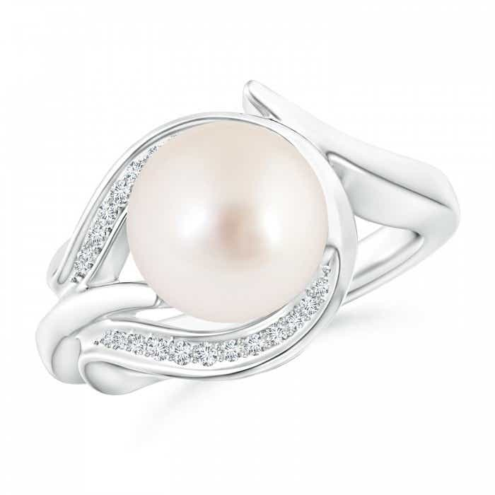Angara South Sea Cultured Pearl Ring with Diamond Loop