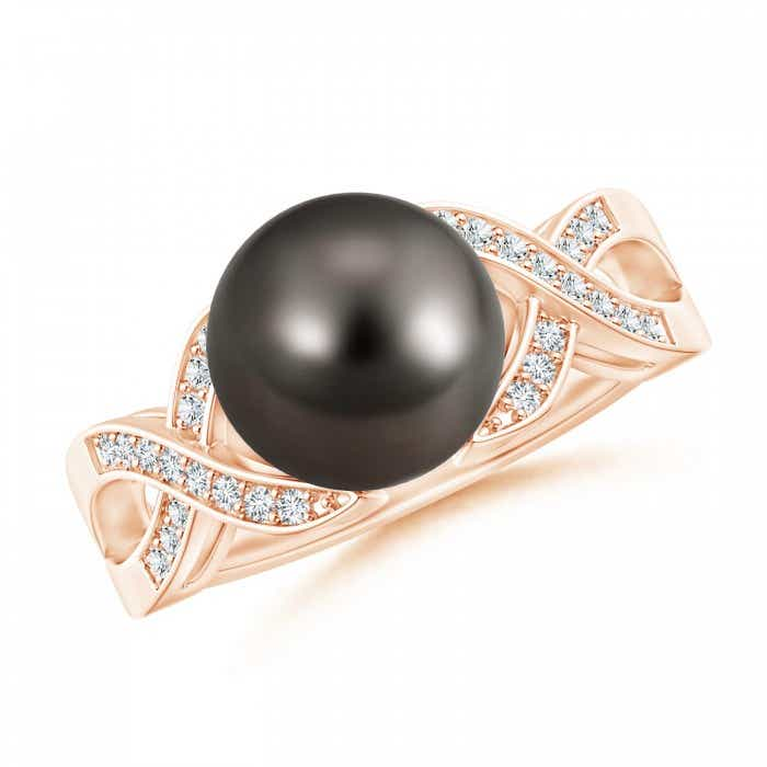 Angara Tahitian Cultured Pearl and Diamond Criss Cross Ring