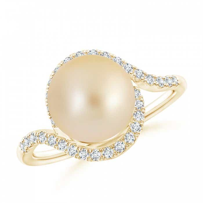 Angara South Sea Cultured Pearl Bypass Ring with Trio Diamonds yfozG