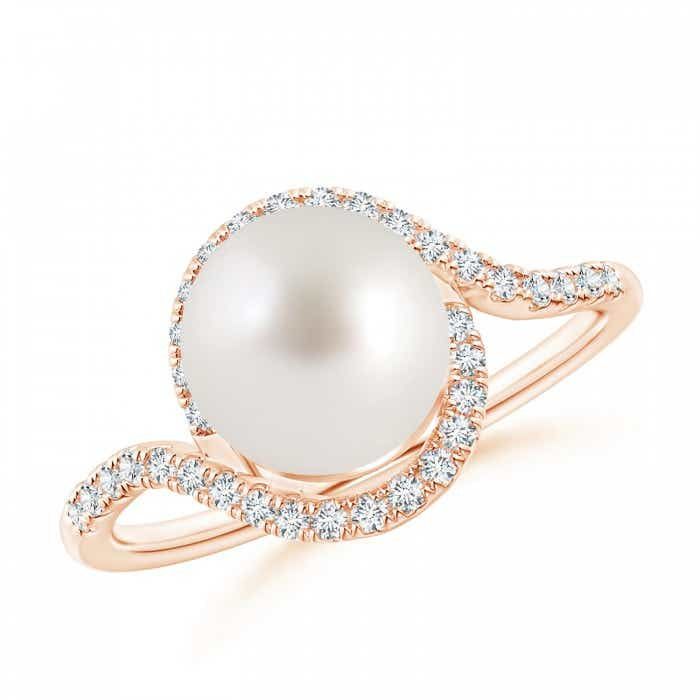 Angara South Sea Cultured Pearl Ring with Pave Diamonds jWhQ1ieT