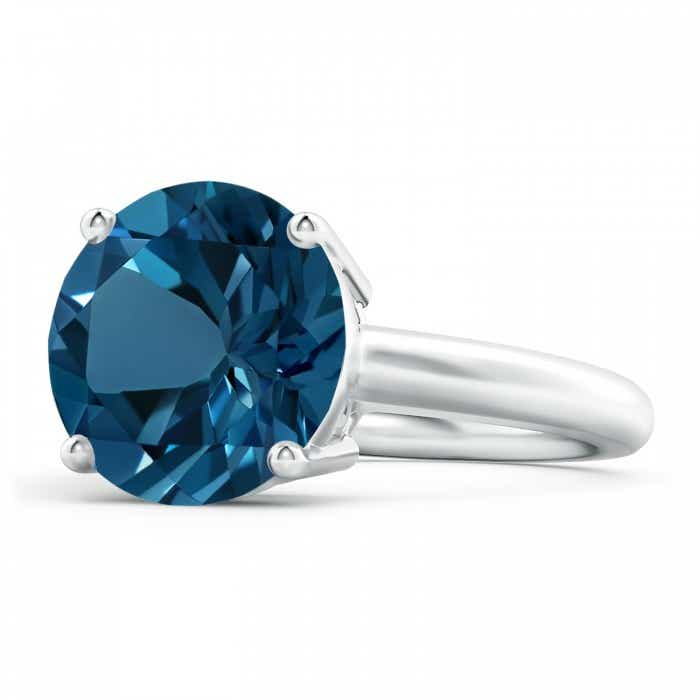 Angara Classic Prong Set Round London Blue Topaz Solitaire Ring