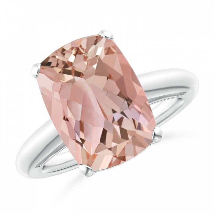 Angara Prong Set Cushion Morganite Cocktail Ring G2chW5
