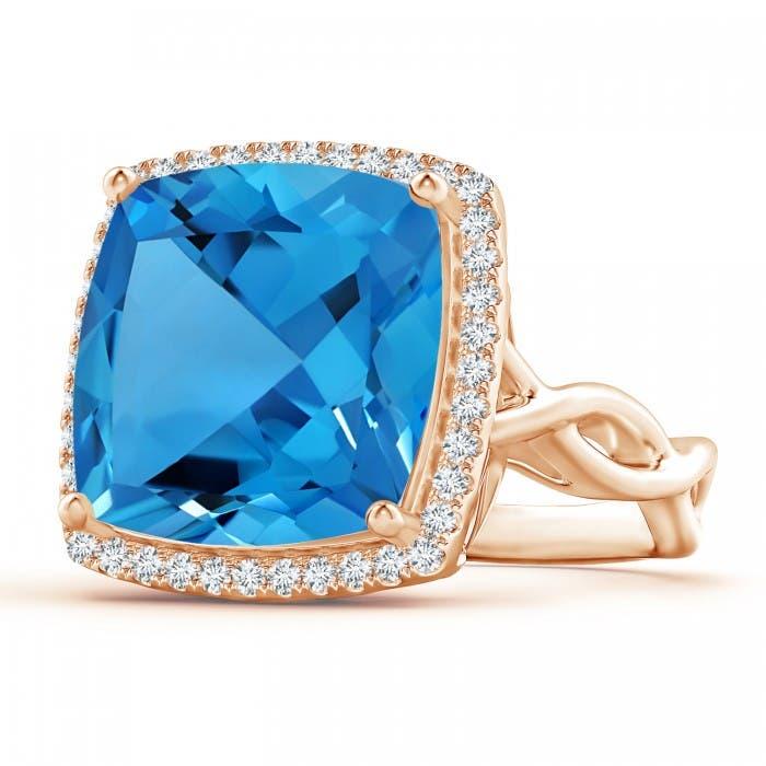 Angara Cushion Swiss Blue Topaz Infinity Twist Halo Ring ZkylVZEMXS