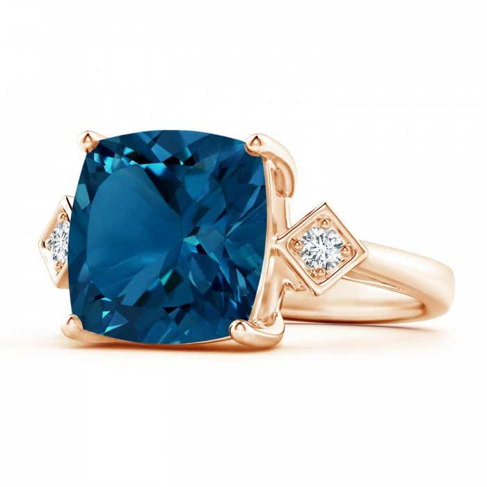 Angara London Blue Topaz Cocktail Ring in Rose Gold ZjqkG07DQ