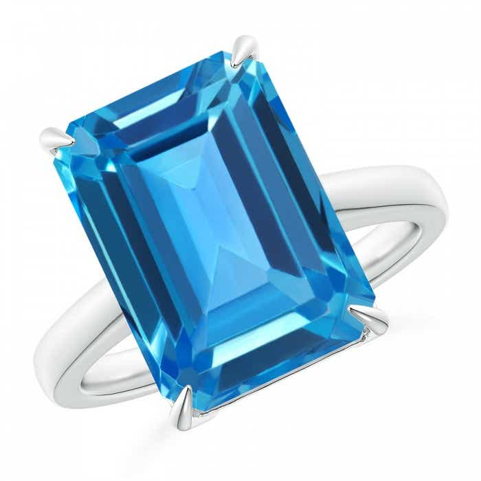 Angara Emerald-Cut Swiss Blue Topaz Cocktail Ring in White Gold MVVm5QMff