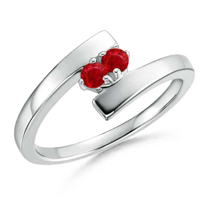 Angara Bypass Round Ruby Two Stone Ring plJghstyk