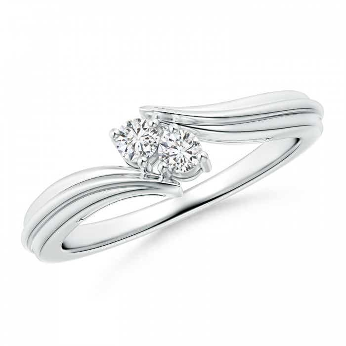 Angara Round Diamond Bypass Ring in White Gold 0eybVpW