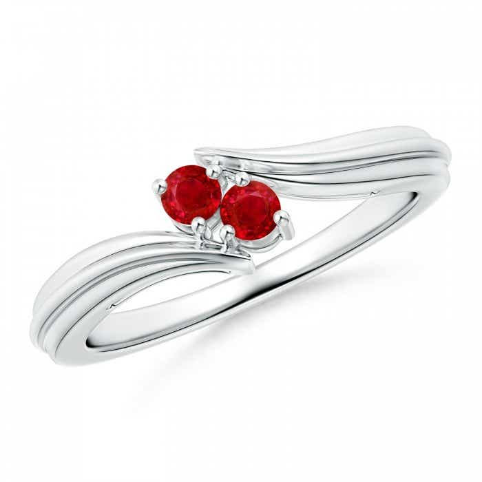 Angara Round Two Stone Ruby Bypass Ring in Yellow Gold bjYpyQCtoo
