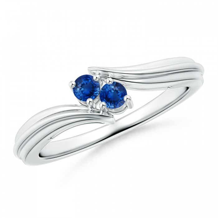 Angara Blue Sapphire Bypass Ring in White Gold VSU4TBpyzG