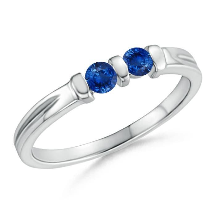 Angara Round Two Stone Blue Sapphire Ring with Bar Setting klgOB