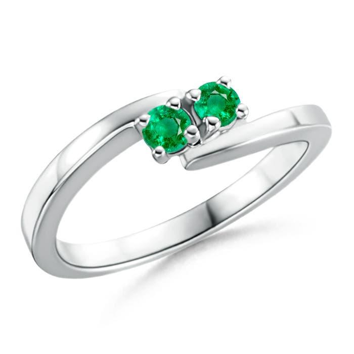 Angara Round Two Stone Emerald Bypass Ring wLkgWiR