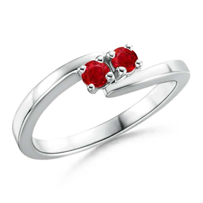Angara Bypass Round Ruby Two Stone Ring dGrnzs