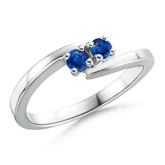 Angara Round Two Stone Blue Sapphire Bypass Ring TaqsZks