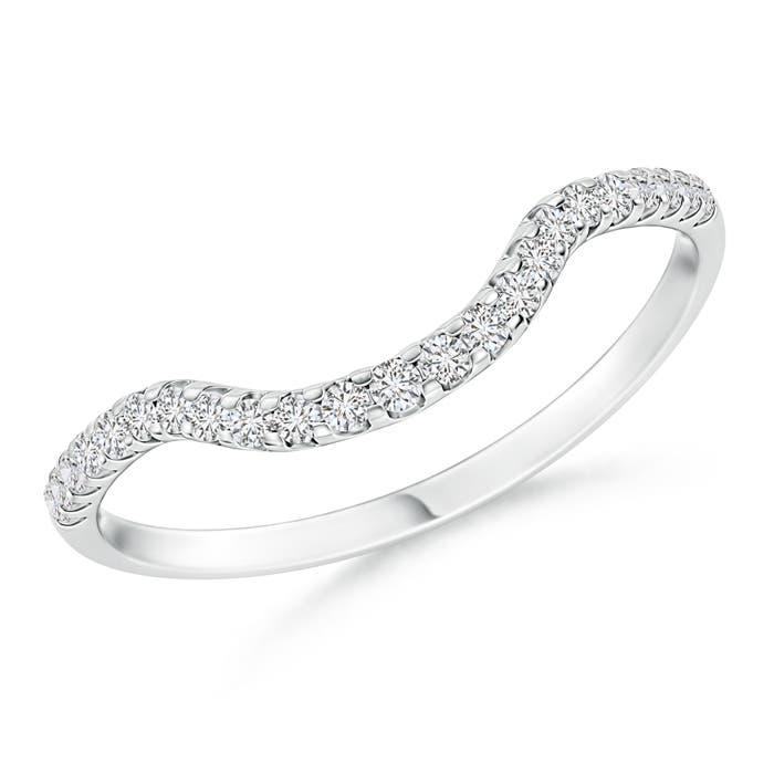 Angara Prong Set Diamond Swirl Wedding Band for Women 98oDVYy