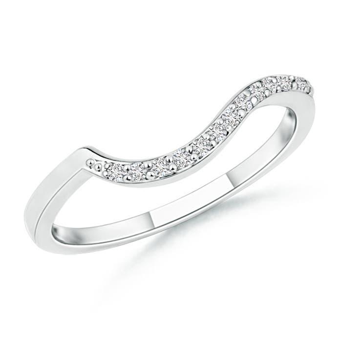 Angara Pave Round Diamond Curved Wedding Band CIsMl