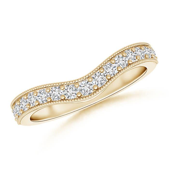 Angara Pave Round Diamond Curved Wedding Band 1A5rdw