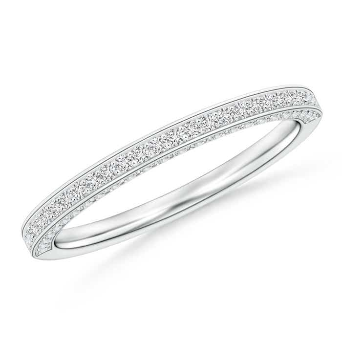 Angara Milgrain-Edged Pave Set Diamond Half Eternity Womens Wedding Band LL59TiL