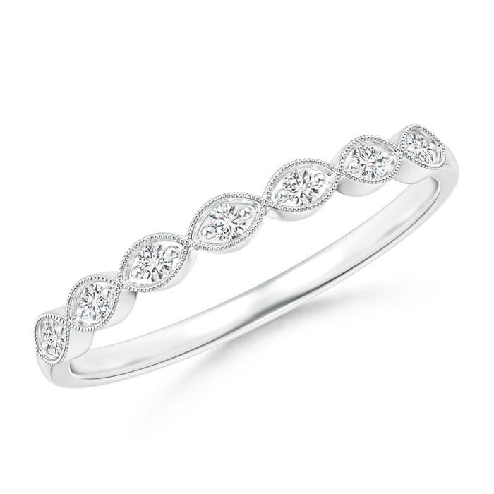 Angara Milgrain Round Diamond Wedding Band in White Gold Dub2pCHJvD