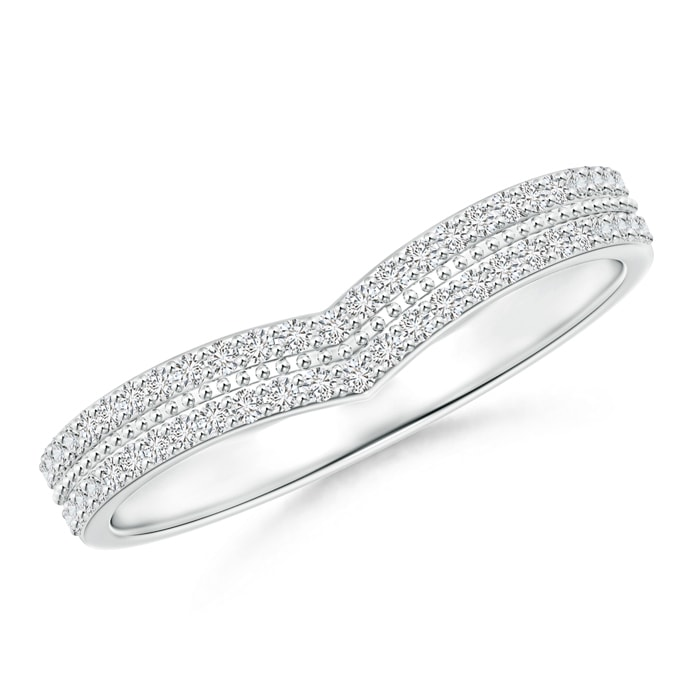 Angara Pave-Set Round Diamond Curved Wedding Band K9L49AegR