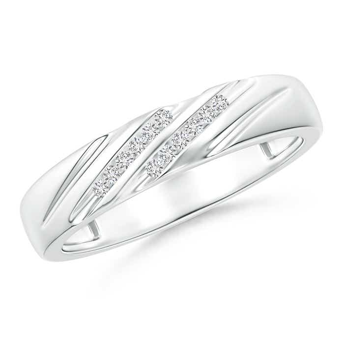 Angara Vertical Grooved Diamond Half Eternity Womens Wedding Band QDIFJ6