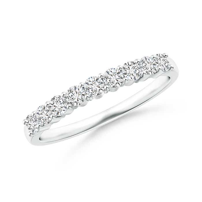 Angara U-Pave Set Diamond Half Eternity Wedding Band Yj9SNj8NiW