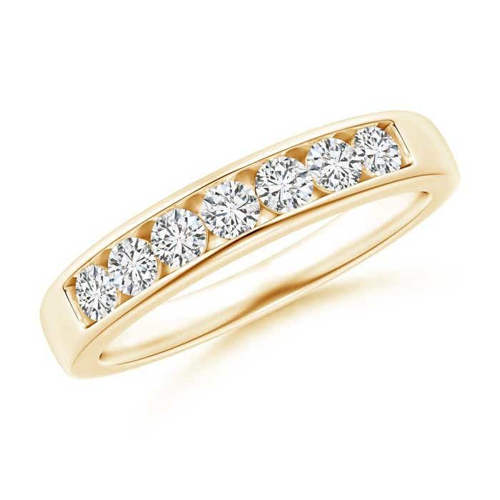 Angara Channel-Set Diamond Seven Stone Wedding Band in Rose Gold zanCJLK