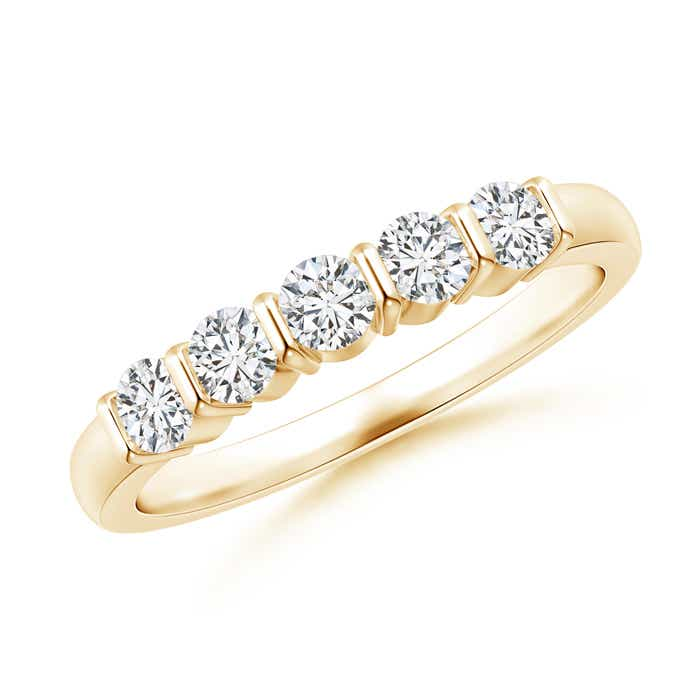 Angara Fishtail-Set Diamond Six Stone Wedding Band