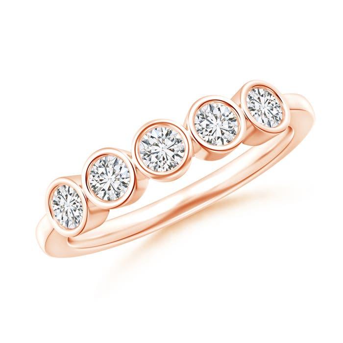 Angara Four Stone Bezel-Set Diamond Concave Wedding Band 0oIzJ
