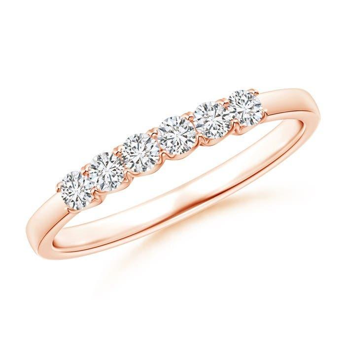 Angara Fishtail-Set Diamond Six Stone Wedding Band WaesRUC
