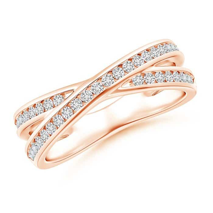Angara Criss Cross Diamond Wedding Band for Her EfnVJsS8yE