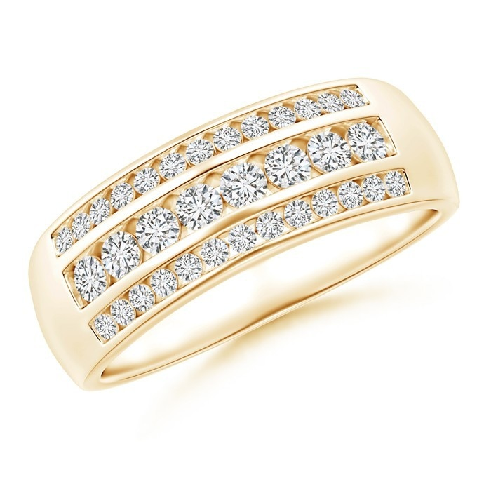 Angara Slanted Bar-Set Diamond Ten Stone Wedding Band Gu8Uv