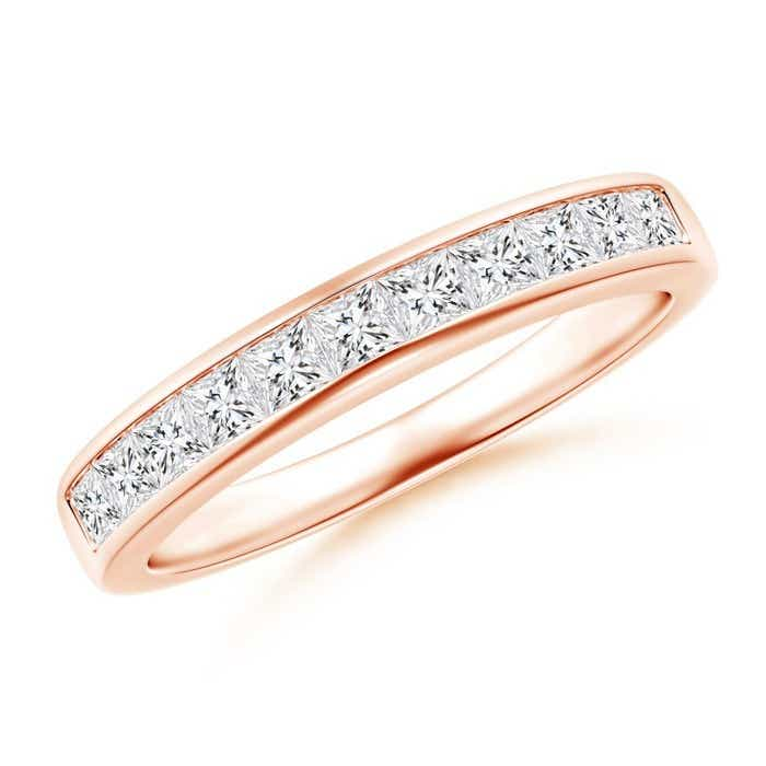 Angara Eleven Stone Princess Cut Diamond Band in Rose Gold Ywjn1rv