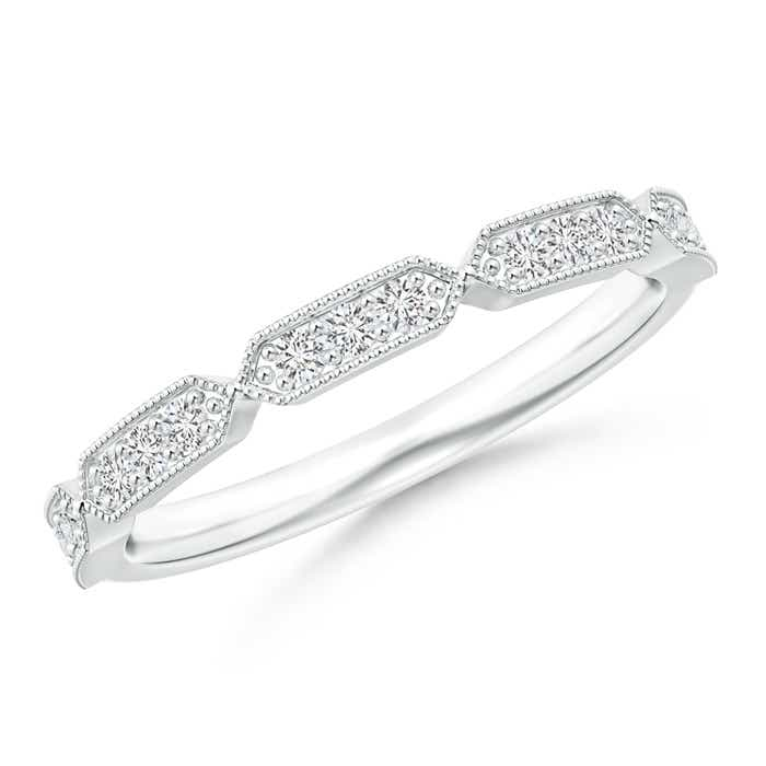 Angara Bar-Set Round Diamond Cuban Link Wedding Band