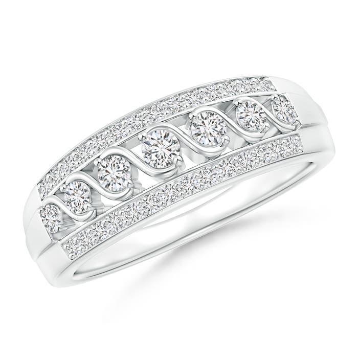 Angara Railroad Diamond Anniversary Ring in Platinum HDziDrl
