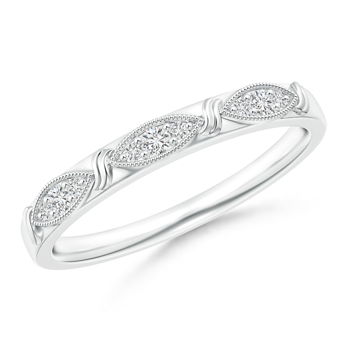 Angara Pave-Set Round Diamond Curved Wedding Band I9Peu