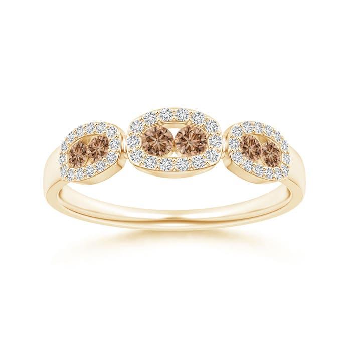 Angara White and Brown Diamond Hexagonal Pattern Wedding Band SyEpu