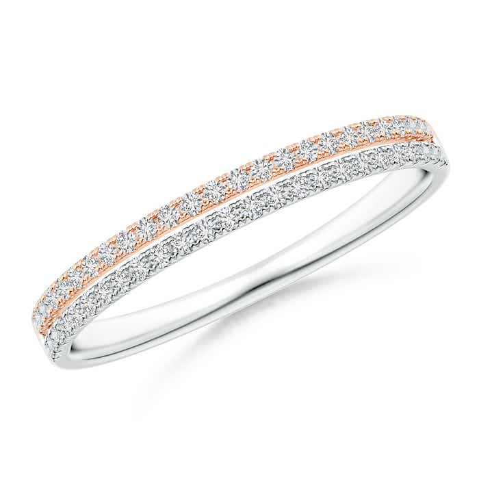 Angara Channel-Set Diamond Double Row Wedding Band vTKnup