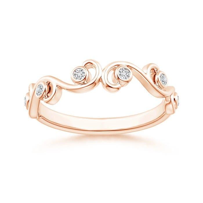Angara Aquamarine and Diamond Ivy Scroll Ring 30DimJZ