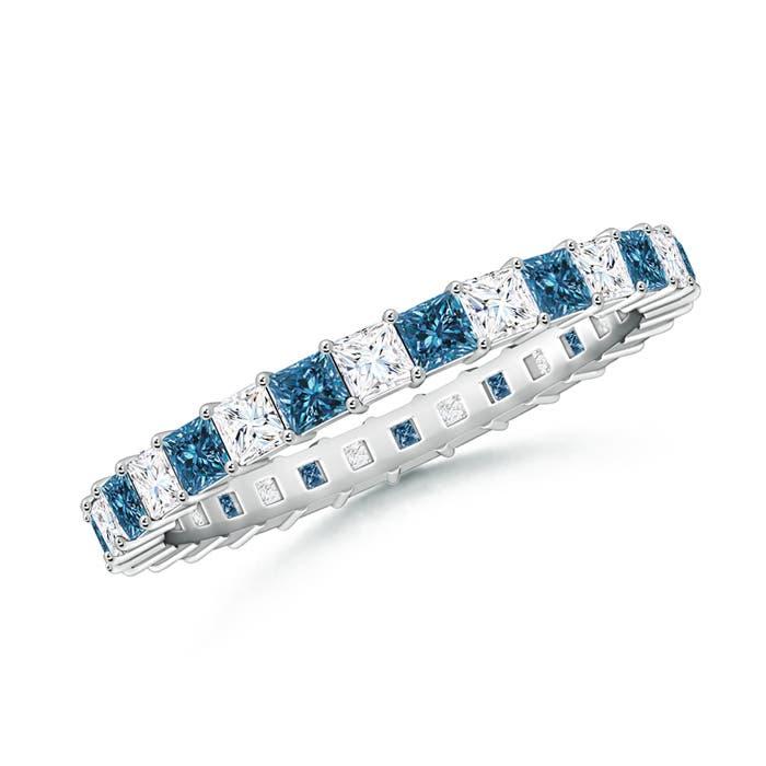 Angara Platinum Three Stone Blue Sapphire and Diamond Engagement Ring Oih2gGJx