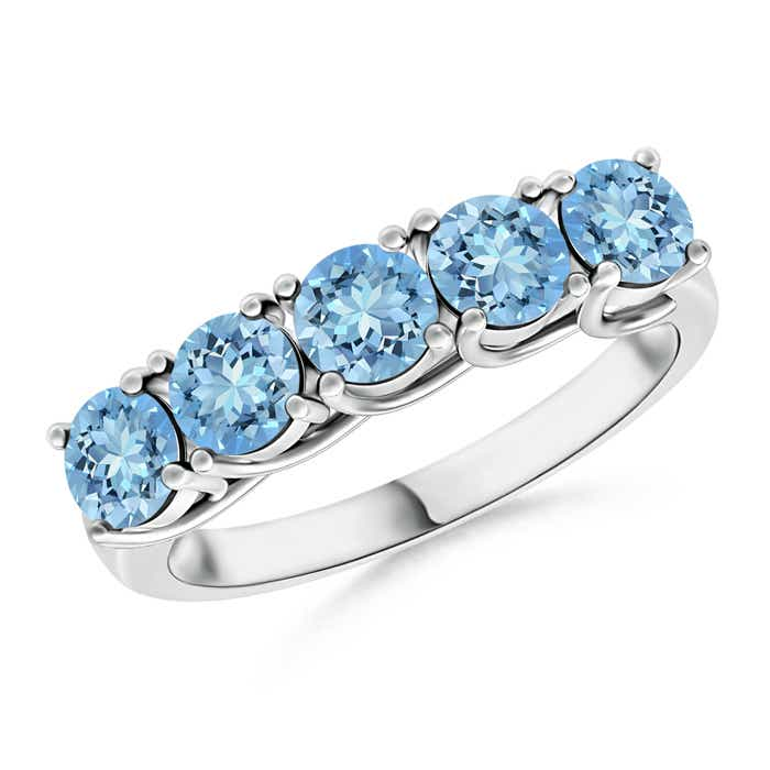 Angara Half Eternity Five Stone Aquamarine and Diamond Wedding Ring mpIcwz