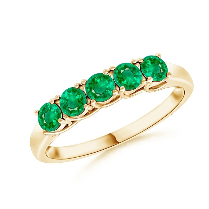 Angara Emerald Diamond Semi Eternity Band in Yellow Gold CkfMwI
