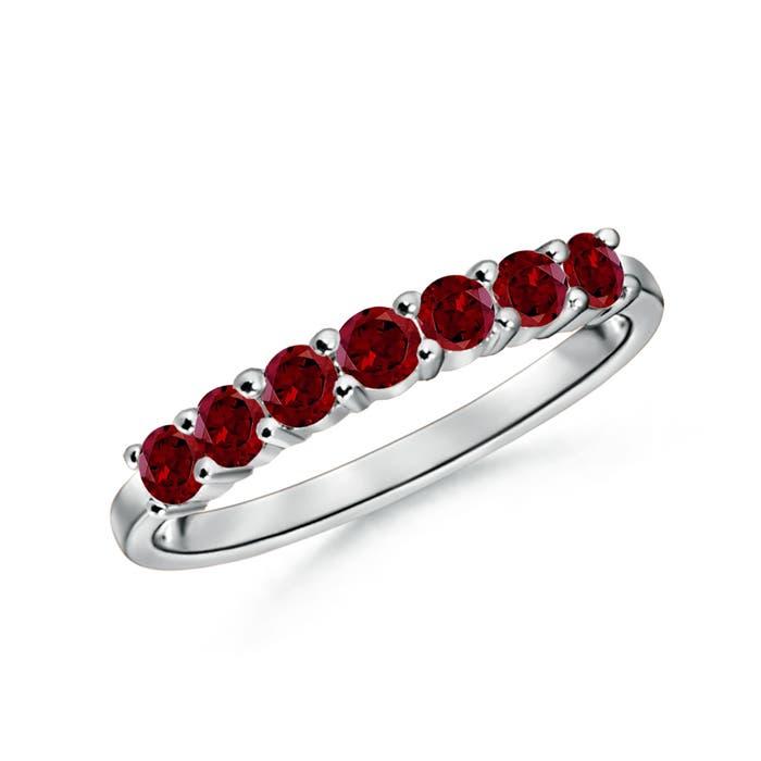 Angara Round Diamond and Garnet Half Eternity Wedding Ring Kr7iwW