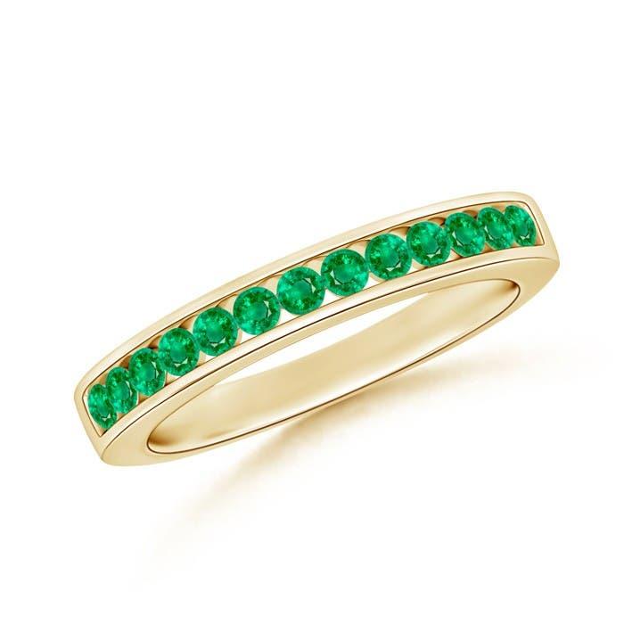 Angara Womens High Dome Gypsy Set Emerald Semi Eternity Wedding Band 9eOYc